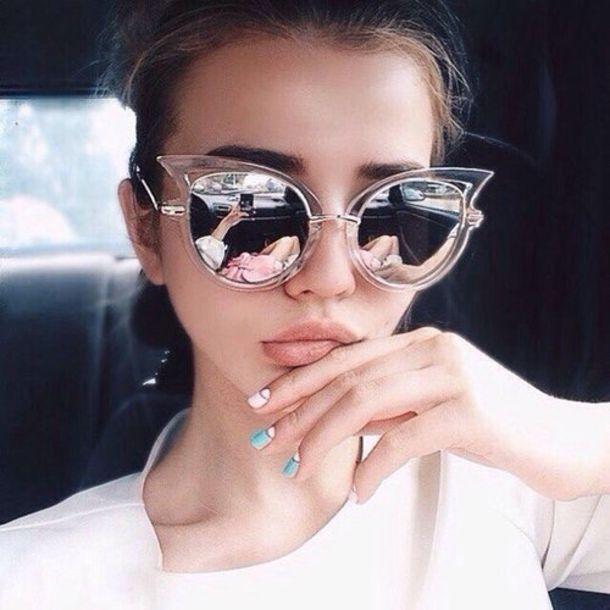 f7ee5efc3a0d sunglasses, girly, cat eye, dior, silver, urban, modern, hipster ...
