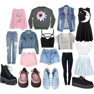 shirt top crop tops pants jeans shorts sweater shoes platform shoes pastel goth nu goth dress lose jeans demin demin loose jeans pink grunge jacket pastel skirt