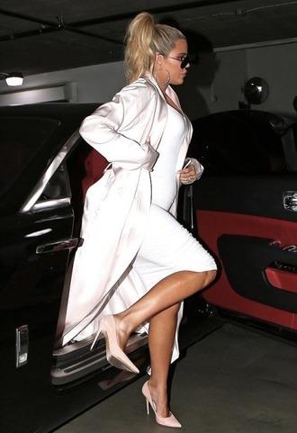 dress white white dress bodycon dress khloe kardashian kardashians pumps coat midi dress