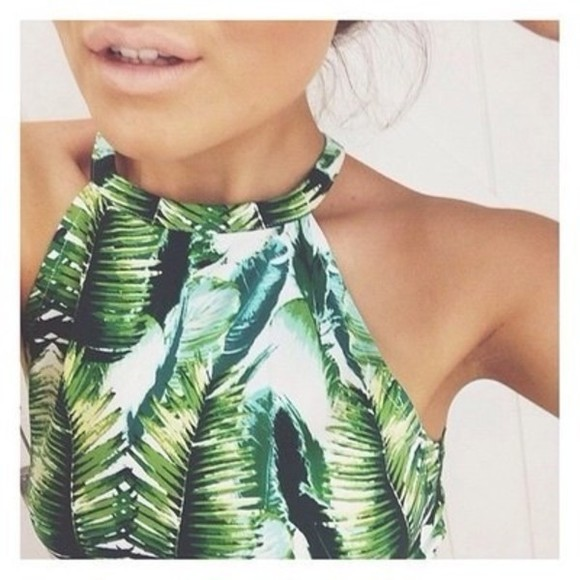 green sleeveless tank top palm tree print crop tops summer top green tank top shirt top leaf print blouse summer outfits neckholder white leaves leaves top jungle jungle top palm leaf print dress halter top print tropical t-shirt crop tops green blue djungle leafs white