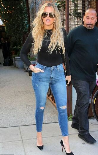 jeans top khloe kardashian pumps
