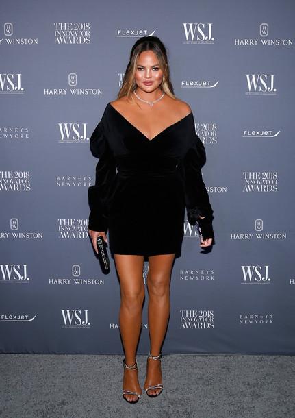 dress little black dress black dress mini dress sandals sandal heels celebrity velvet velvet dress chrissy teigen