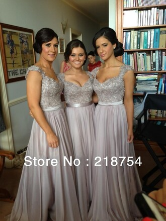 dress maxi dress wedding clothes bridemaids dresses gray dress appliques a-line dresses