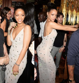 dress rihanna sparkly sheer
