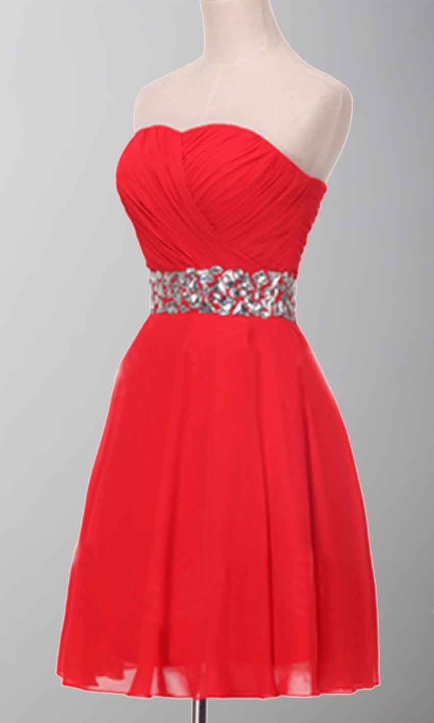 Sparkle Red Strapless Crystal Belt Short Prom Dress Ksp365