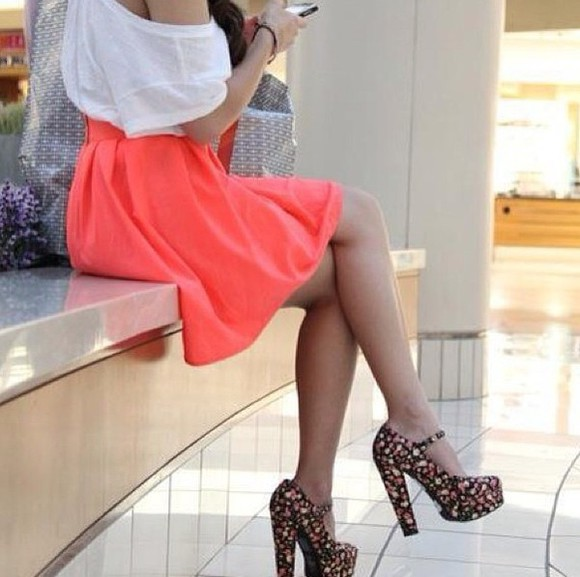 skirt neon skirt flower shoes blouse