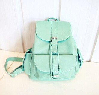 bag mint leather backpack pastel dress
