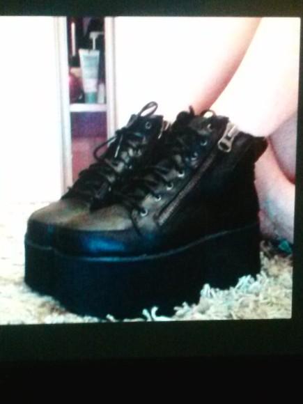 zipper dark platform shoes goth