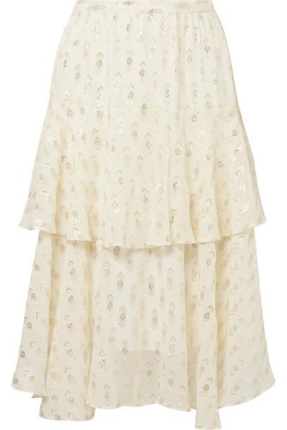 LoveShackFancy skirt midi skirt metallic midi silk cream
