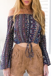 top,boho,long sleeves,fall outfits,tribal pattern,off the shoulder
