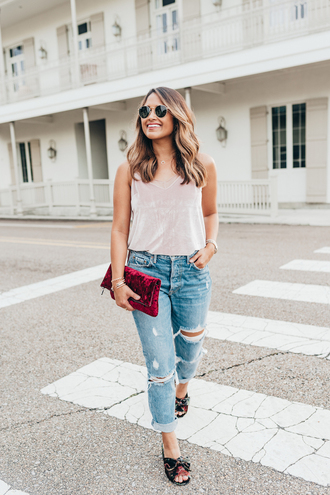 hauteofftherack blogger jeans tank top bag sunglasses fall outfits clutch ripped jeans velvet top
