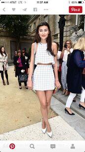 jumpsuit,white,checkered,two-piece,skirt,dress,crop,crop tops,set,two piece dress set,crop tops high waisted shorts,shirt,white dress