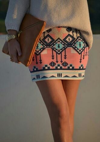 skirt aztec tribal pattern mini skirt summer