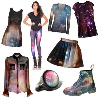 shoes combat boots galaxy print leggings top jewels shirt