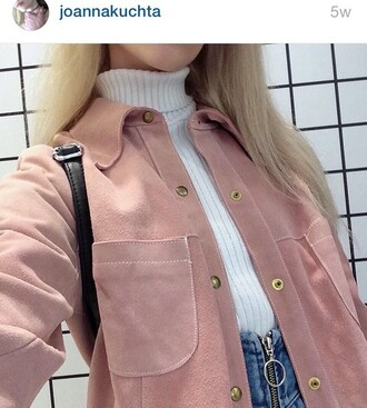 jacket joanna kutcha coat pink dusty pink suede baby pink instagram prom prom dress pink jacket suede jacket denim skirt joanna kuchta button up denim skirt turtleneck white turtleneck hipster kawaii grunge boho boho chic casual casual chic button up indie boho blush pink 90s style minimalist suave buttons
