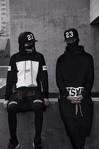 sweater trill white blvck black fashion street goth hoodie pullover hat streetwear tumblr outfit style urban black sweater urban menswear menswear mens sportswear mens cap black and white black hoodie black and white hoodie