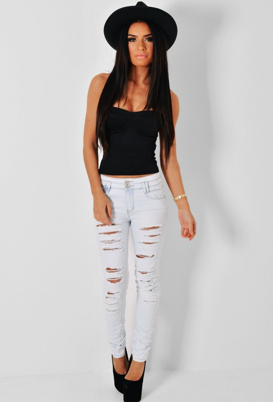 Carson light blue ripped skinny jeans