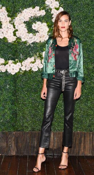 pants sandals sandal heels leather black leather pants leather pants alexa chung top jacket faux leather