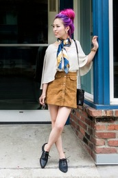 shoes,white flowy shirt,blue and white scarf,blogger,brown button up skirt,black oxfords