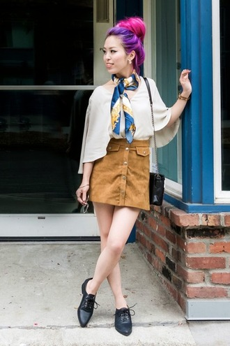 shoes white flowy shirt blue and white scarf blogger brown button up skirt black oxfords