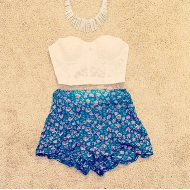 Shorts: high waisted blue shorts, white crop tops, flower shorts ...