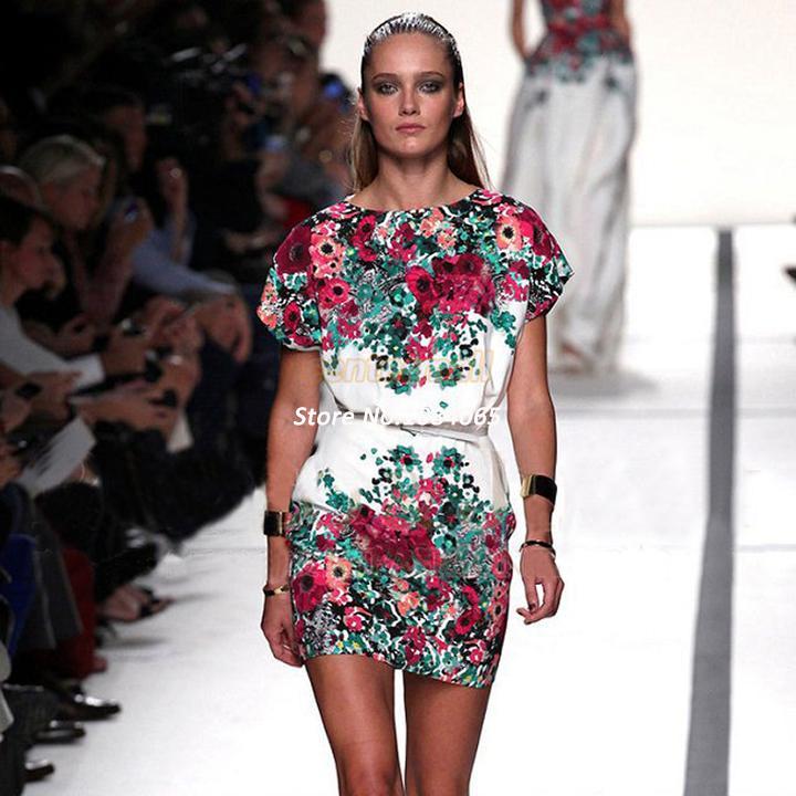 Cheap Womens Vintage Print Floral Pattern Slim Dress Women's White O-Neck short Sleeve Sexy Dresses New 2014 Summer ~1 SV0   Amazing Shoes UK