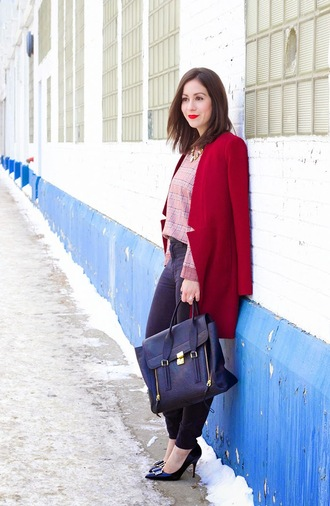 adventures in fashion blogger red coat satchel bag