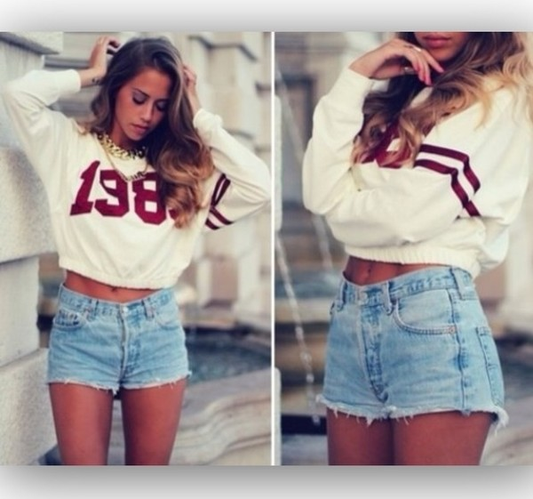 shorts sweater jewels