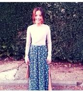 skirt,slit,slit skirt,floral,floral skirt,blue,flowers,summer,spring,maxi,maxi skirt