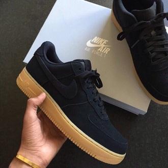 shoes nike black nike air force 1 nike shoes suede gumbottom low top sneakers black sneakers
