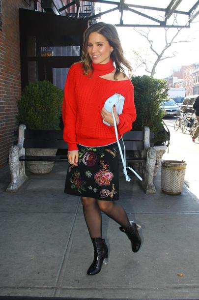 sweater red sweater skirt streetstyle ankle boots sophia bush fall outfits fall sweater cut-out