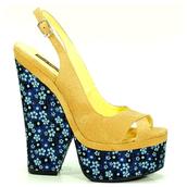shoes,heels,high heels,floral high heels,platform high heels,chunky heels,yellow,slingbacks,strappy shoes,open toes