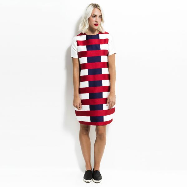 Cocoon Dress - Rouge/Navy Stripe
