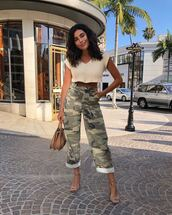 pants,top,bag,shoes,military style