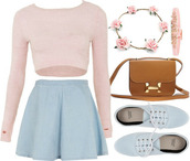 skirt,shirt bag skirt,denim,skater,circle skirt,cute,outfit,pastel pink,top