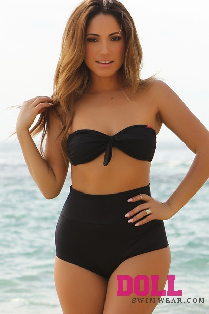 Solid Black Modern Fit Bandeau Top Classic High Waisted Shorts Bikini - Doll Swimwear