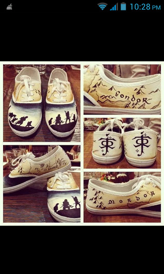 shoes vans converse lotr lord of the ring lord of the rings print cool yellow