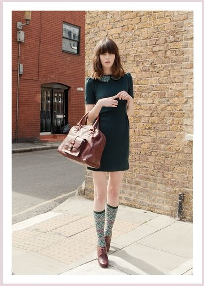 peter pan collar preppy back to school bag fall outfits knee high socks socks forest green hipster girly leather bag