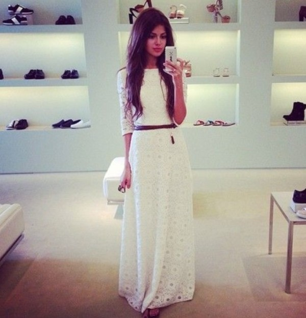 Online Shop 2013 spring summer white black lace paillette long dress long sleeve bohemia pleated ...