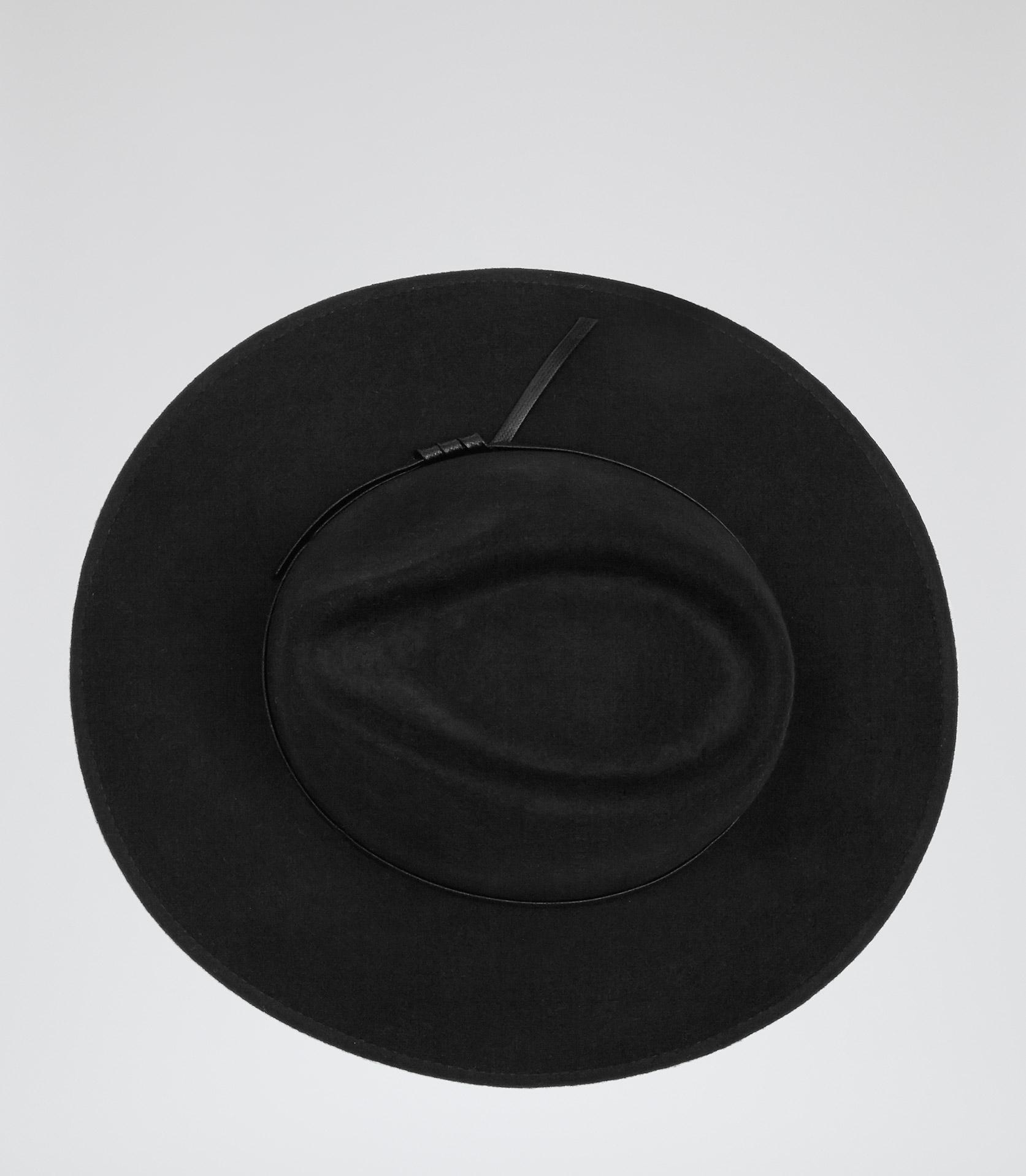 Ava black wool trilby hat