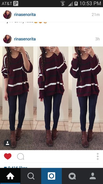 sweater maroon sweater dress striped sweater oversized sweater shoes