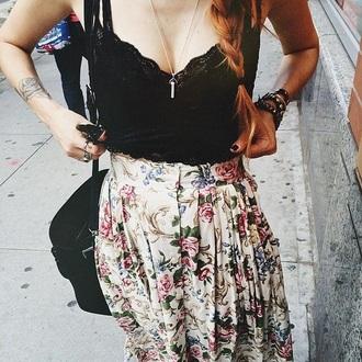 shirt crop tops black crop top high waisted skirt skirt