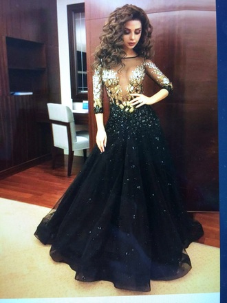 dress sheer dress gold sequins black dress gown fashion open back prom dress