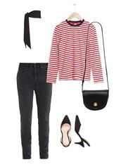 jestem kasia,blogger,jeans,top,shoes,bag,scarf,striped top,shoulder bag,slingbacks,mid heel pumps,spring outfits