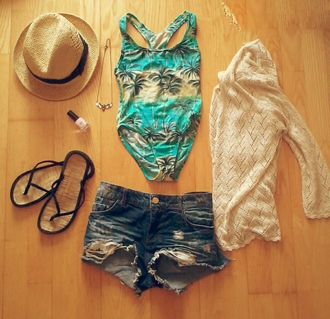 swimwear turquoise green blue hawiian print print print swimwear print swimsuit palm tree print yellow necklace eagle hat nail polish pink nail polish flip-flops cut off shorts jeans shorts dark blue knitted cardigan cardigan cream straw hat