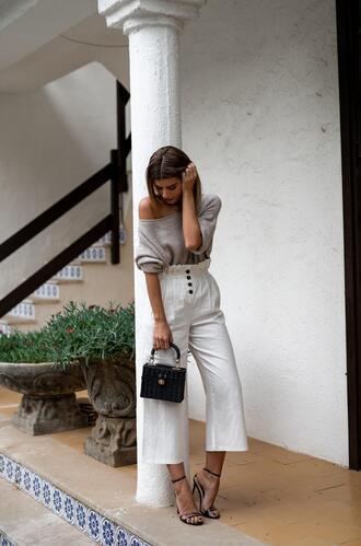 ms treinta blogger sweater pants shoes bag handbag sandals white pants spring outfits
