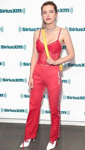 pants,red dress,bella thorne,lingerie,top,sweatpants,celebrity style,celebrity