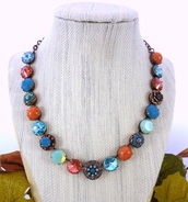 jewels,gypsy colors,bling,ornate,opal,padparadscha necklace,chunky crystal necklace,bohemian jewelry,swarovski,statement necklace,swarovski necklace,12mm statement necklace,gypsy necklace,turquoise,turquoise and orange necklaces,ooak jewelry,designer,designer jewelry,embellished necklace,gifts for her,boho chic,mariana inspired,sabika inspired