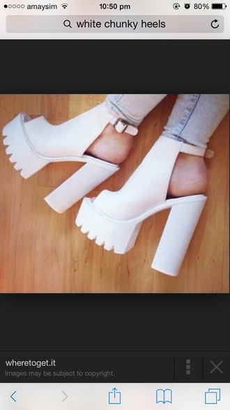 shoes white heels platformsandals helpmetofindit chunky heels perfect lovely must have anyone selling i love these shoes..anyone know where to get  them or some like them? thanks x
