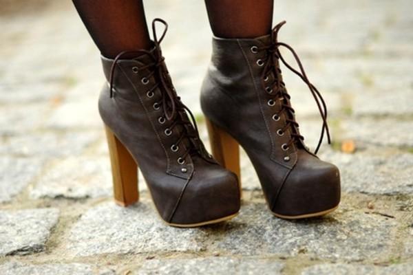 6af849fedd24 Womens Ladies Lace Up Platform Wooden Block High Heel Booties Ankle ...
